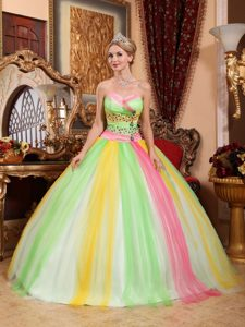 Colorful Tulle Sweetheart Quinceanera Gown Dresses with Beading