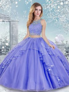 Gorgeous Sleeveless Floor Length Beading and Lace Clasp Handle Quinceanera Dresses with Lavender