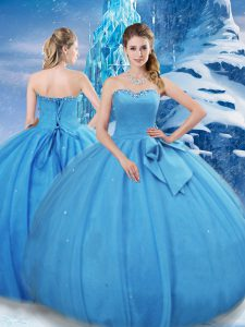 Hot Selling Sleeveless Bowknot Lace Up Quinceanera Dresses