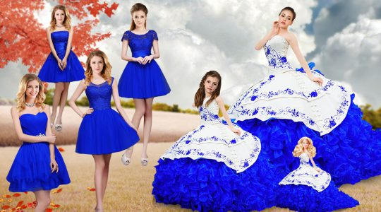 Fancy Royal Blue Sleeveless Organza Brush Train Lace Up Sweet 16 Dresses for Military Ball and Sweet 16 and Quinceanera