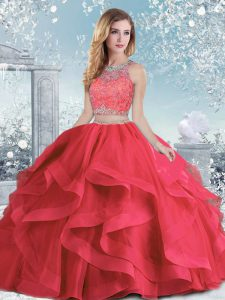 Shining Floor Length Coral Red Quinceanera Gown Organza Sleeveless Beading and Ruffles