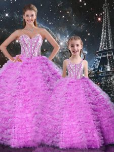 Ball Gowns Sweet 16 Dress Fuchsia Sweetheart Tulle Sleeveless Floor Length Lace Up