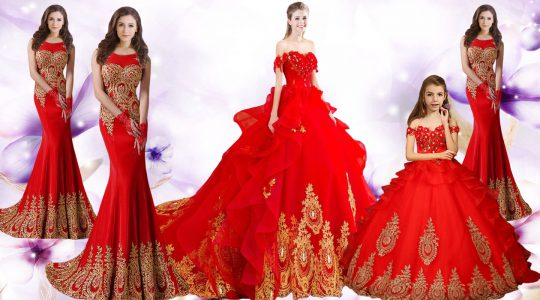 Red Lace Up Quinceanera Gown Beading and Appliques and Embroidery Sleeveless Brush Train