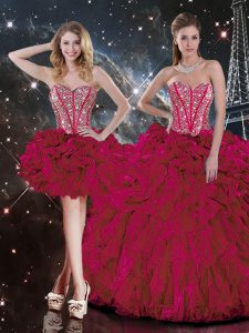 Colorful Burgundy Sleeveless Organza Lace Up Quinceanera Dresses for Military Ball and Sweet 16 and Quinceanera