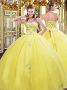 Exquisite Ball Gowns Vestidos de Quinceanera Gold Sweetheart Tulle Sleeveless Floor Length Lace Up