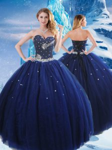 On Sale Floor Length Navy Blue Quince Ball Gowns Sweetheart Sleeveless Lace Up