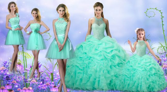 Apple Green Organza Lace Up Quinceanera Dress Sleeveless Floor Length Beading and Ruffles and Pick Ups