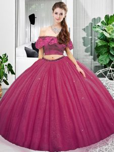 Perfect Off The Shoulder Sleeveless Lace Up Quinceanera Dresses Fuchsia Organza