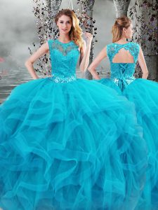 Glorious Floor Length Lace Up Vestidos de Quinceanera Baby Blue for Military Ball and Sweet 16 and Quinceanera with Beading and Ruffles
