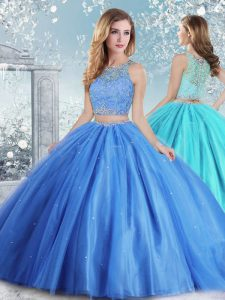 Baby Blue Ball Gowns Tulle Scoop Sleeveless Beading and Sequins Floor Length Clasp Handle Quince Ball Gowns