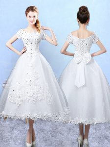 White Short Sleeves Tulle Lace Up Quinceanera Court Dresses for Prom and Party and Wedding Party