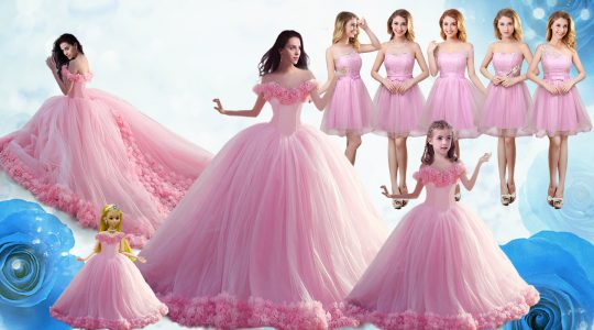 Modern Sleeveless Floor Length Ruffles Lace Up Quinceanera Dresses with Baby Pink