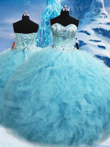 Best Selling Aqua Blue Sleeveless Floor Length Beading and Pick Ups Lace Up Sweet 16 Quinceanera Dress