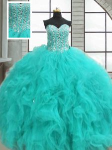 Custom Design Sleeveless Beading and Ruffles Lace Up 15th Birthday Dress