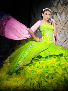 Elegant Yellow Green Ball Gowns Organza Sweetheart Sleeveless Embroidery and Ruffles Lace Up Sweet 16 Dresses Brush Train