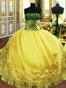 Glamorous Gold Lace Up Sweetheart Embroidery and Ruffles 15th Birthday Dress Organza Sleeveless