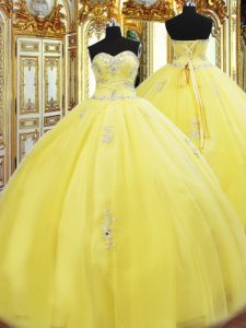 Fashionable Yellow Sweetheart Lace Up Beading and Appliques Quinceanera Gowns Sleeveless