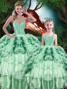 Multi-color Sleeveless Floor Length Beading and Ruffles and Ruffled Layers Lace Up Sweet 16 Dresses