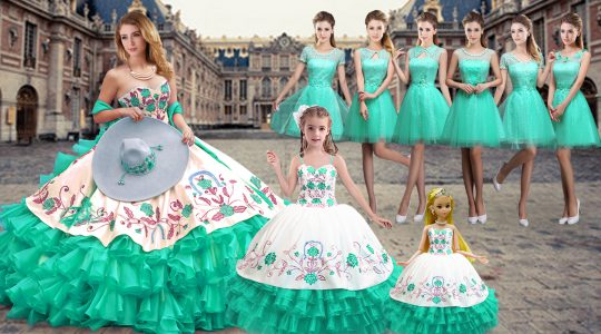 Ideal Sweetheart Sleeveless Sweet 16 Dress Floor Length Embroidery and Ruffled Layers Turquoise Organza