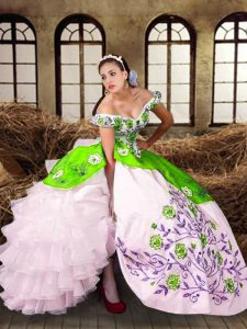 Multi-color Taffeta Lace Up Quinceanera Dresses Sleeveless Floor Length Embroidery and Ruffled Layers