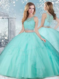 Sleeveless Tulle Floor Length Clasp Handle Ball Gown Prom Dress in Aqua Blue with Beading