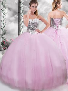 Luxurious Lilac Ball Gowns Beading Sweet 16 Dress Lace Up Tulle Sleeveless