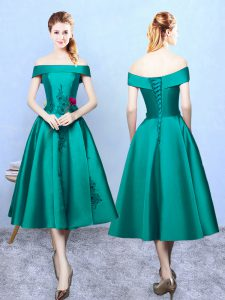 Amazing Sleeveless Tea Length Appliques Lace Up Quinceanera Dama Dress with Dark Green