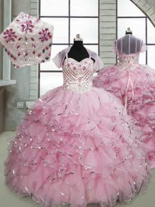 Organza Sleeveless Little Girls Pageant Dress Brush Train and Beading and Ruffles