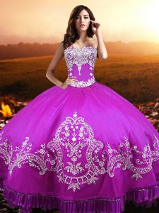 Gorgeous Sleeveless Taffeta Floor Length Lace Up Quinceanera Gown in Fuchsia with Beading and Appliques