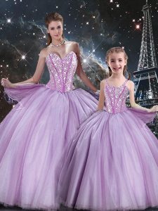 Lavender Sleeveless Beading Floor Length 15th Birthday Dress