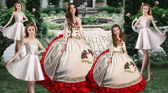 Excellent White Quinceanera Gowns Taffeta Brush Train Long Sleeves Embroidery