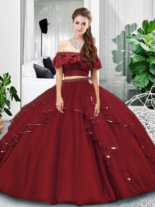 On Sale Burgundy Two Pieces Lace and Ruffles Vestidos de Quinceanera Lace Up Tulle Sleeveless Floor Length