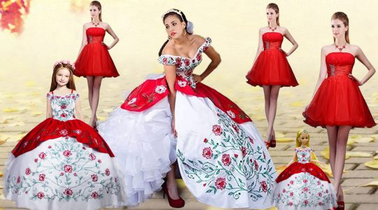 Stunning White And Red Ball Gowns Organza and Taffeta Off The Shoulder Sleeveless Embroidery and Ruffled Layers Lace Up Sweet 16 Quinceanera Dress Brush Train