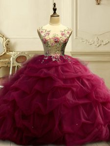 Ball Gowns Quince Ball Gowns Burgundy Scoop Organza Sleeveless Floor Length Lace Up