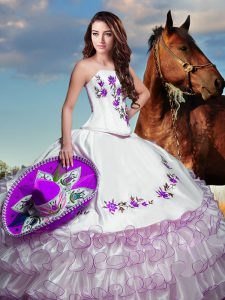 Flirting Strapless Sleeveless Lace Up Quince Ball Gowns White Taffeta