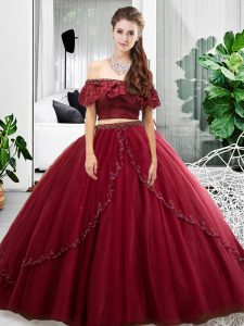 Floor Length Two Pieces Sleeveless Burgundy Sweet 16 Dresses Lace Up