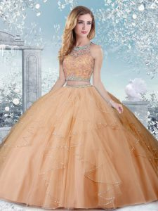 Hot Selling Champagne Sleeveless Tulle Clasp Handle Quinceanera Gown for Military Ball and Sweet 16 and Quinceanera