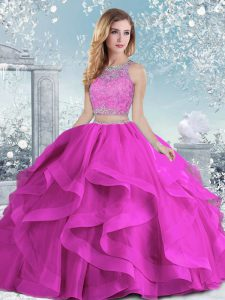 Hot Sale Floor Length Clasp Handle Quince Ball Gowns Fuchsia for Military Ball and Sweet 16 and Quinceanera with Beading and Ruffles