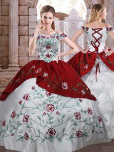 Fabulous Floor Length White And Red Quinceanera Gown Off The Shoulder Sleeveless Lace Up