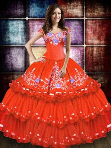 Hot Sale Taffeta Sleeveless Floor Length Quinceanera Gown and Embroidery and Ruffled Layers