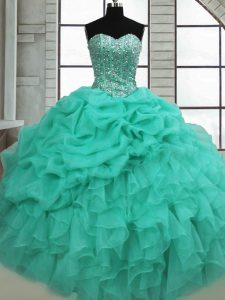 Fancy Floor Length Turquoise Quinceanera Gown Organza Sleeveless Beading and Ruffles and Pick Ups