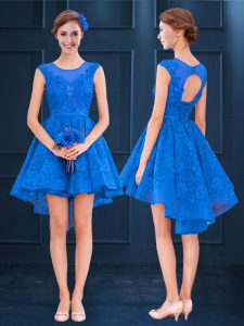 Edgy Satin and Lace Scoop Sleeveless Clasp Handle Lace and Belt Dama Dress for Quinceanera in Blue