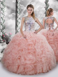 Simple Baby Pink Lace Up Scoop Beading and Ruffles Quinceanera Gown Organza Sleeveless