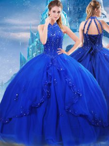 Brush Train Ball Gowns Quinceanera Gown Royal Blue High-neck Tulle Sleeveless Lace Up