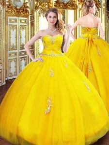 Beading and Appliques 15 Quinceanera Dress Gold Lace Up Sleeveless Floor Length