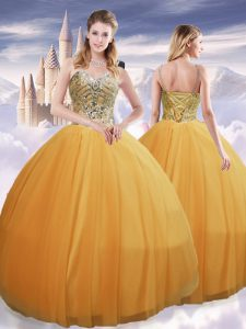Spaghetti Straps Sleeveless Lace Up Ball Gown Prom Dress Gold Tulle
