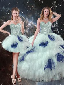 Super Blue And White Three Pieces Sweetheart Sleeveless Tulle Floor Length Lace Up Beading and Ruffled Layers and Sequins Vestidos de Quinceanera