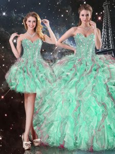 Turquoise Sweetheart Lace Up Beading and Ruffles Quinceanera Dress Sleeveless