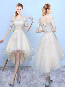 Fashionable White Lace Up Off The Shoulder Appliques Court Dresses for Sweet 16 Organza Sleeveless