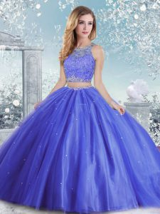 Best Selling Tulle Scoop Sleeveless Clasp Handle Beading and Sequins Quince Ball Gowns in Blue